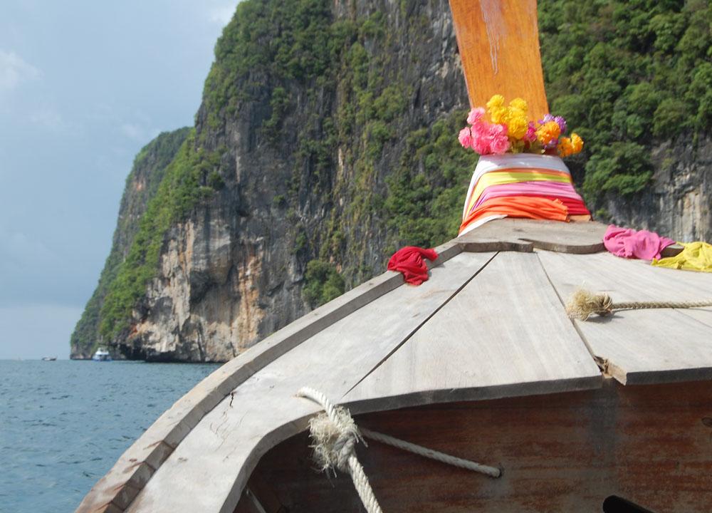 Long Tail Boat to Phi Phi, Low season in Krabi Thailand, southeast asia