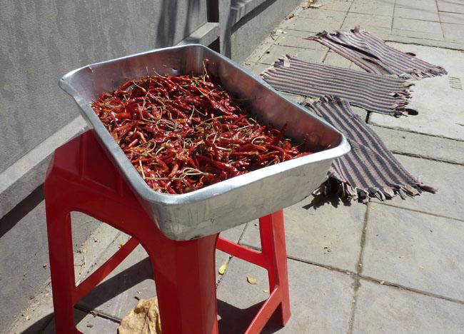 Sun Drying Chilies, Bangkok Street Food Street, Southeast Asia