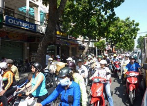 Motorbike Swarms at Weekend in Ho Chi Minh City Saigon, Southeast Asia