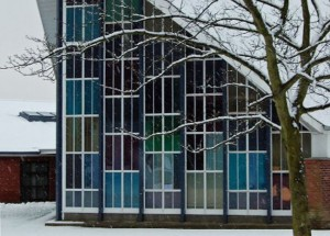 Snow at Bangor West Church, Bangor, Northern Ireland, UK