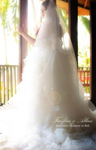 Wedding Dress Balcony, Bride at Wedding in Bali Ubud, Travel Bloggers