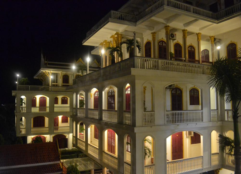 Palace at Night, Champasak Palace Hotel Pakse Hotel Review Laos