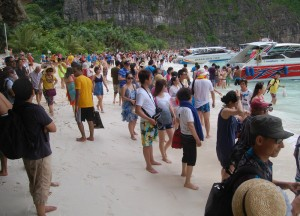 Crowded Ko Phi Phi Beach, Low season in Krabi Thailand, Southeast Asia