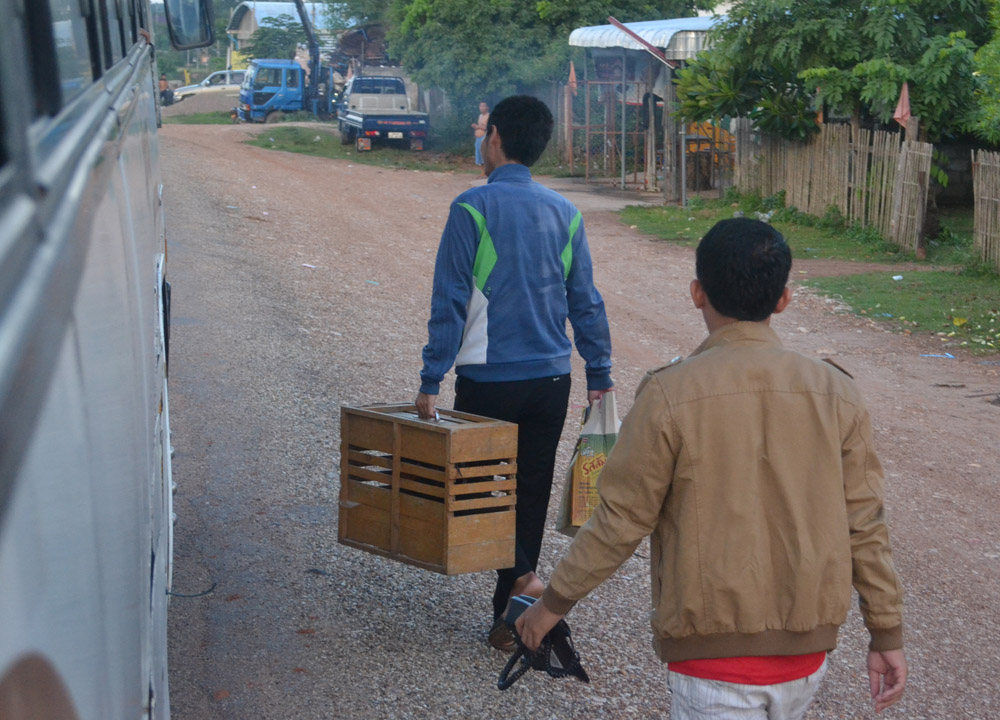 Chickens on Bus, Savannakhet to Pakse by Bus, Travel in Southern Laos