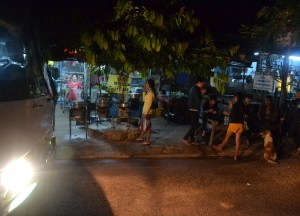 Night time stop, Savannakhet to Pakse by Bus, Travel in Southern Laos
