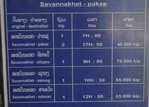 Bus Schedule, Savannakhet to Pakse by Bus, Travel in Southern Laos
