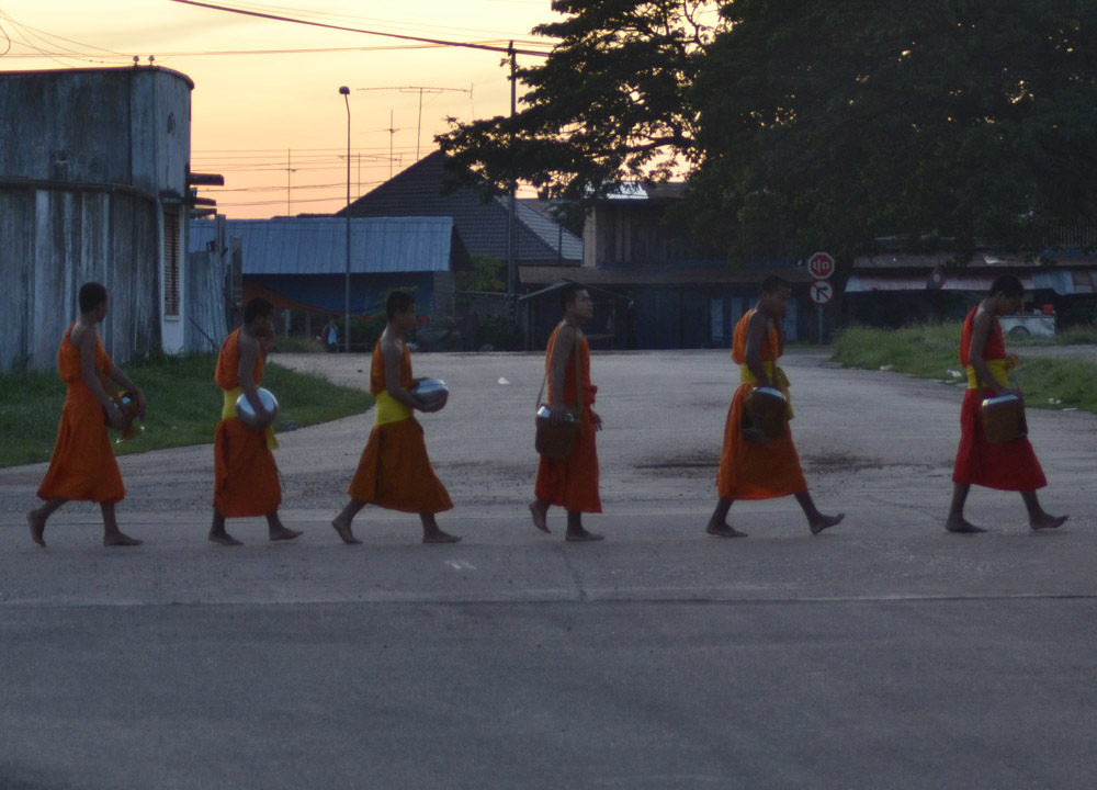 Monks Passing Street, Things to do in Savannakhet Laos Southeast Asia