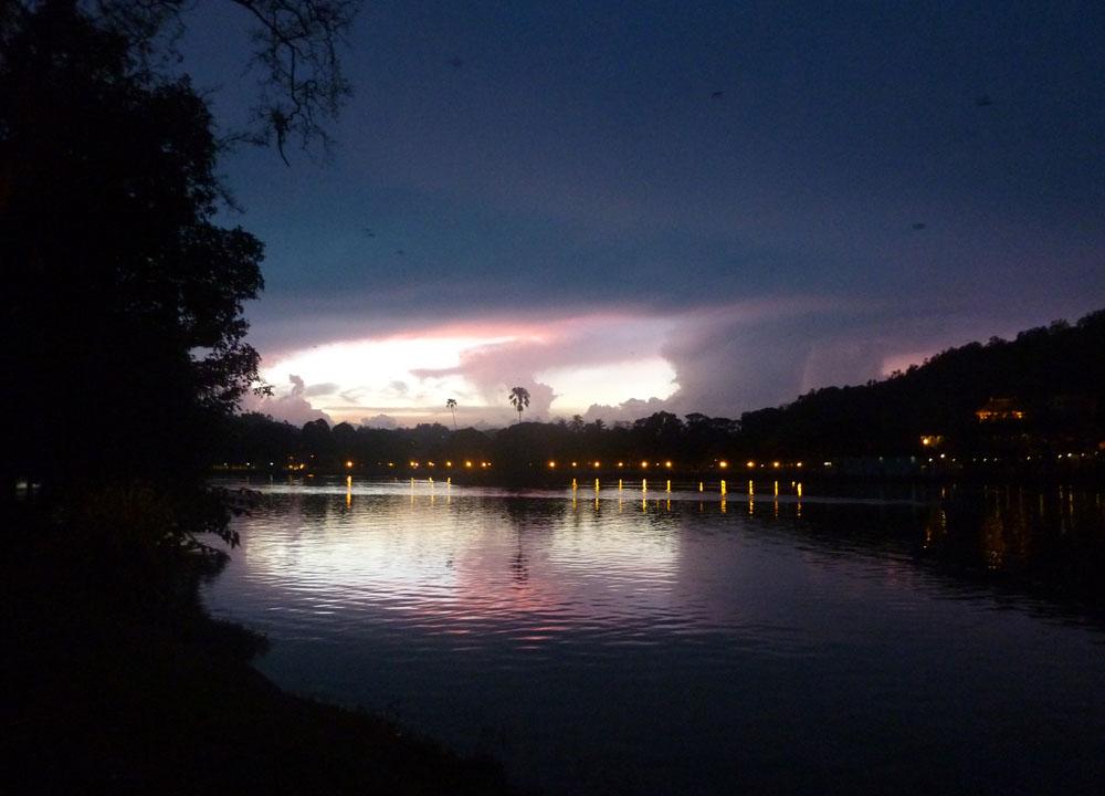 Kandy Lake at Night, South Sri Lanka Tour, Independent Travel Asia