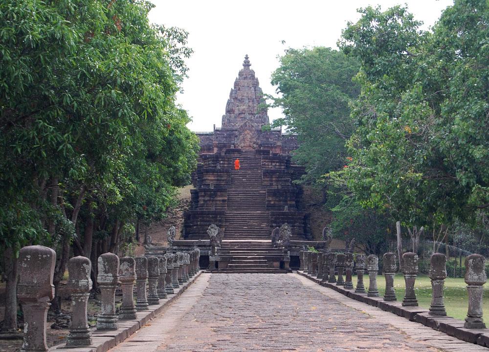 Monk on Stairway to Phanom Rung Ancient Khmer Temples Thailand Buriram