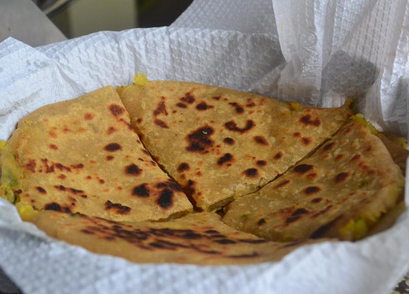Aloo Paratha Bread, Himalayan Food, Eating in the Himalayas, Sikkim