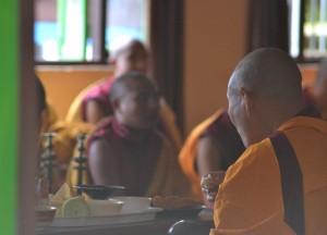 Tibetan Monks Eating, Himalayan Food, Eating in the Himalayas, Sikkim