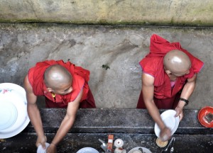Monks Cleaning Dishes, Himalayan Food, Eating in the Himalayas, Sikkim