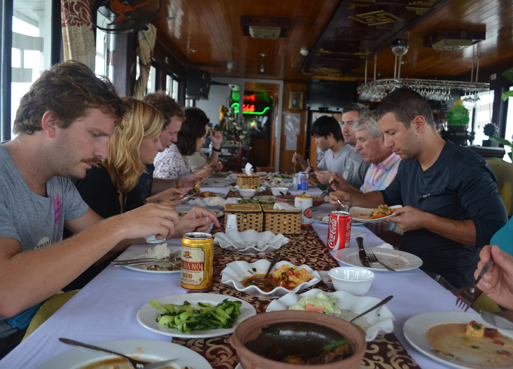 Eating at Dining Table, Best Halong Bay Overnight Cruise Tours from Hanoi