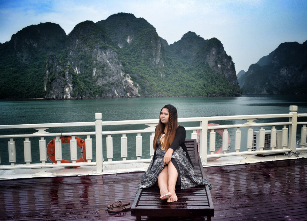 Relaxing on Deck, Best Halong Bay Overnight Cruise Tours from Hanoi