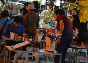 Eating Vietnamese Food, Hanoi Night Market, Hang Dao, Weekend Nightlife
