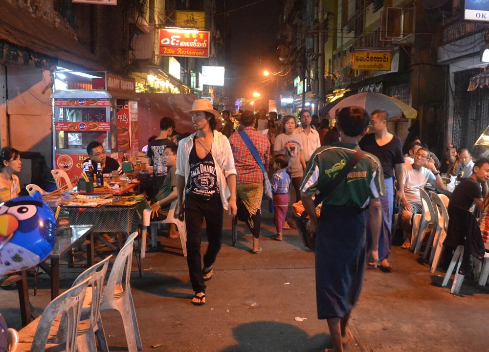 Bustling Night Life in Yangon 19th Street Food in Yangon Chinatown