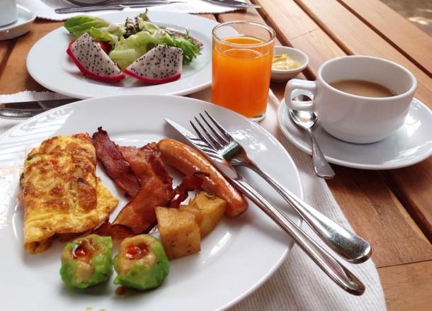 Omelette and Bacon Breakfast, Santhiya Koh Yao Yai Resort Pool Villas, Thailand