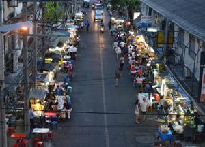 Eating on Sukhumvit 38 Street Food Street in Bangkok Thailand