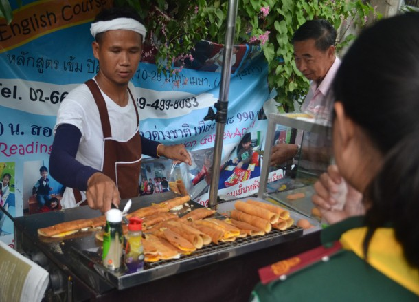 International Street Food in Bangkok, Sausage in Crepes