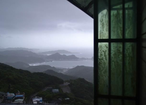 Coastal Areas, Tourist in a Typhoon in Taipei, Taiwan