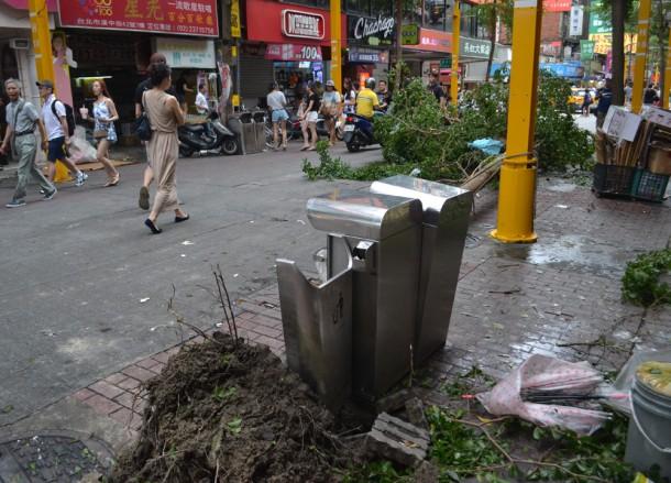 Ximending Walking Street, Tourist in a Typhoon in Taipei, Taiwan